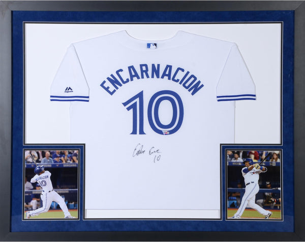 378547d4 Edwin Encarnacion Toronto Blue Jays Deluxe Framed Autographed White Yo –  Steiner Sports