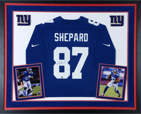 half off c38d9 f1886 Sterling Shepard New York Giants Deluxe Framed Autographed Blue Nike Game  Jersey