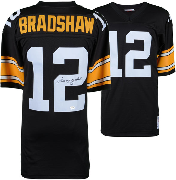 best sneakers 696a4 168b0 Terry Bradshaw Pittsburgh Steelers Autographed Mitchell & Ness Throwback  Black Replica Jersey