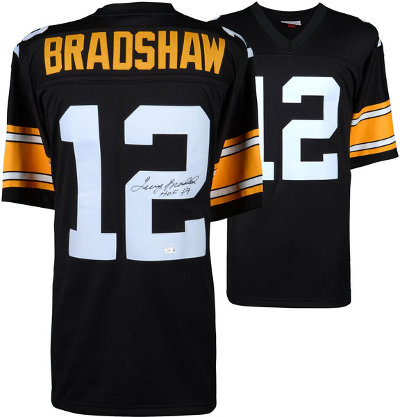 half off 8b649 67ae6 Terry Bradshaw Pittsburgh Steelers Autographed Mitchell & Ness Throwback  Black Replica Jersey with