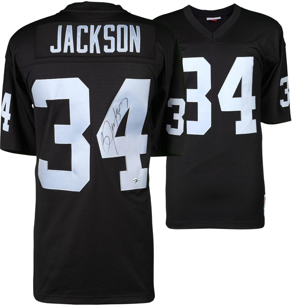 buy online 278fd a3d53 Bo Jackson Oakland Raiders Autographed Black Mitchell & Ness Replica Jersey