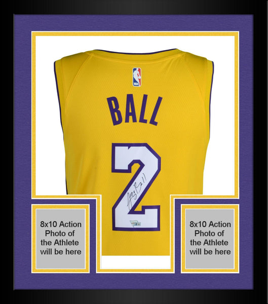 buy popular 8f55b c22ed Framed Lonzo Ball Los Angeles Lakers Autographed Nike Gold Swingman Jersey
