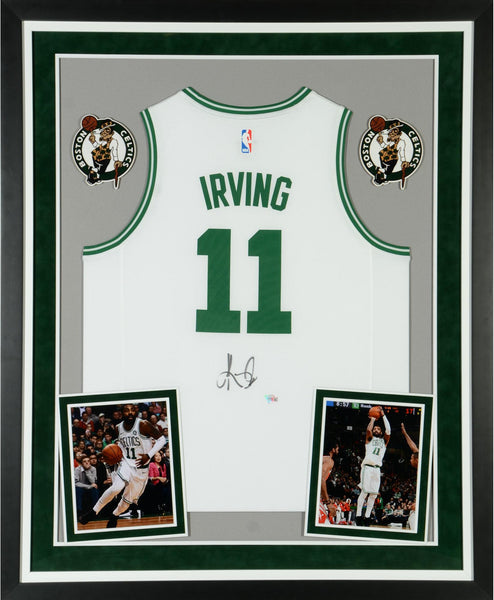 huge selection of c2302 27b43 Kyrie Irving Boston Celtics Deluxe Framed Autographed Fanatics Fast Break  White Replica Jersey