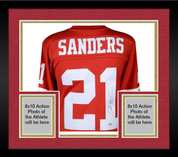 new concept 8f7b1 0fcfb Framed Deion Sanders San Francisco 49ers Autographed Mitchell & Ness Red  Replica Jersey