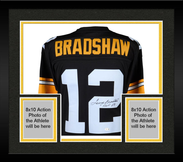 newest 10a51 18751 Framed Terry Bradshaw Pittsburgh Steelers Autographed Mitchell & Ness  Throwback Black Replica Jersey with