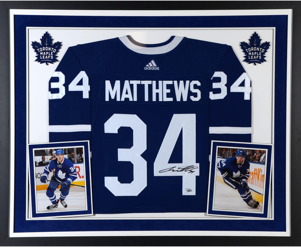 half off b04a9 6cbf4 Auston Matthews Toronto Maple Leafs Deluxe Framed Autographed Blue Adidas  Authentic Jersey