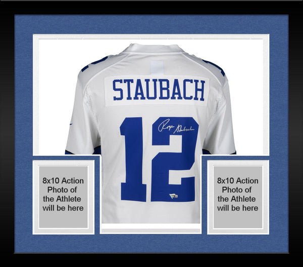 save off 7c411 04b35 Framed Roger Staubach Dallas Cowboys Autographed White Nike Legends Replica  Jersey