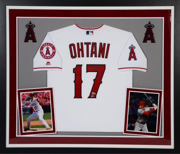 new product 7e07f a695f Shohei Ohtani Los Angeles Angels Deluxe Framed Autographed Majestic White  Authentic Jersey
