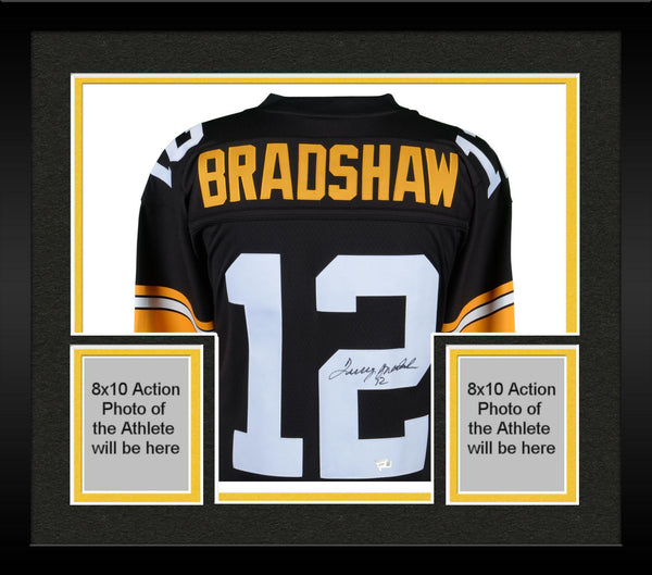 the latest ddcaa 9823c Framed Terry Bradshaw Pittsburgh Steelers Autographed Mitchell & Ness  Throwback Black Replica Jersey