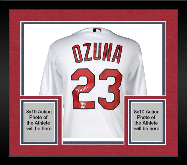 more photos 1d669 6f367 Framed Marcell Ozuna St. Louis Cardinals Autographed Majestic White Replica  Jersey