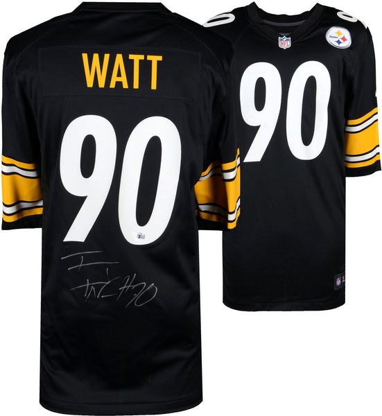 new concept c4298 fcb72 T.J. Watt Pittsburgh Steelers Autographed Black Nike Game Jersey