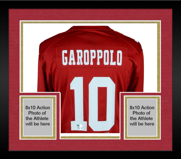 brand new 5a094 23790 Framed Jimmy Garoppolo San Francisco 49ers Autographed Red Nike Game Jersey