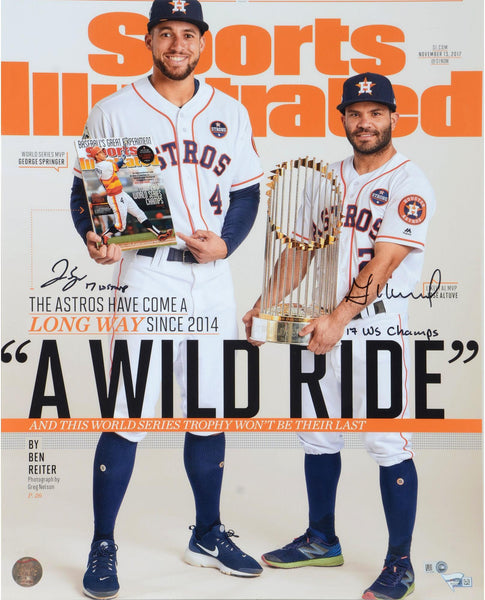 official photos e0e4f b487c Jose Altuve and George Springer Houston Astros 2017 MLB World Series  Champions Autographed 16