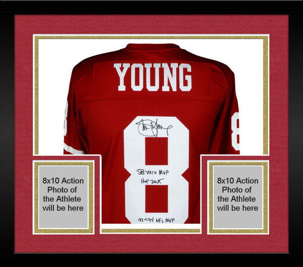 new product 8512e 6ff16 Framed Steve Young San Francisco 49ers Autographed Red Replica Mitchell &  Ness Jersey with Multiple Inscriptions - Limited Edition of 8