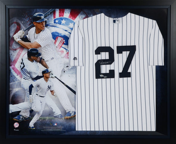 newest a856a b3216 Giancarlo Stanton New York Yankees Framed Autographed Majestic White  Replica Jersey Collage