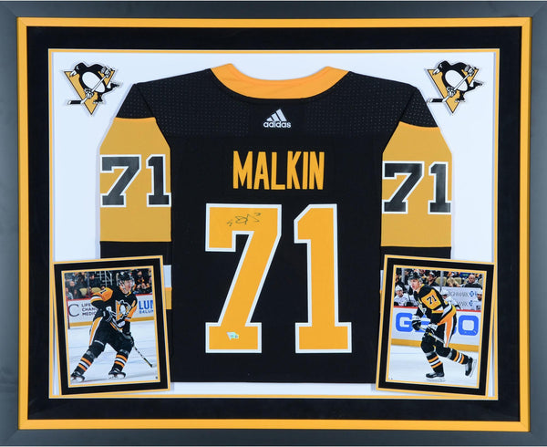 best loved fb7b3 0be50 Evgeni Malkin Pittsburgh Penguins Deluxe Framed Autographed Black Adidas  Authentic Jersey