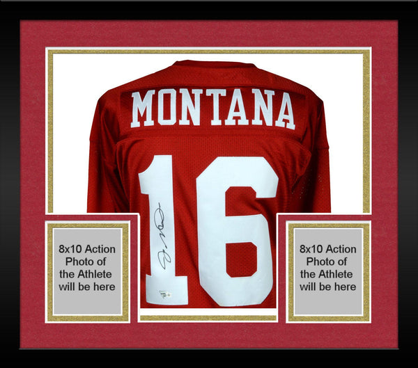 pretty nice 790bd 947e5 Framed Joe Montana San Francisco 49ers Autographed Mitchell & Ness Red  Authentic Jersey