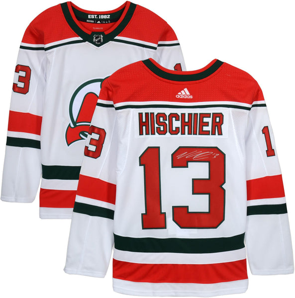 promo code 37b4c 9be84 Nico Hischier New Jersey Devils Autographed White Alternate Adidas  Authentic Jersey