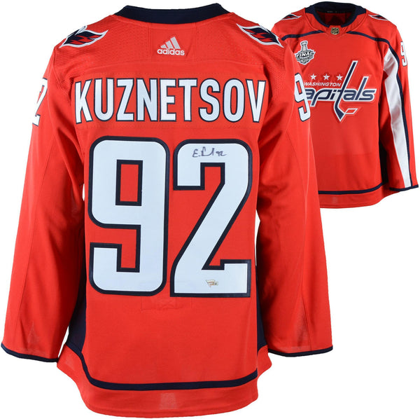 info for 1802d f5772 Evgeny Kuznetsov Washington Capitals 2018 Stanley Cup Champions Autographed  Red Adidas Authentic Jersey with 2018 Stanley Cup Final Patch