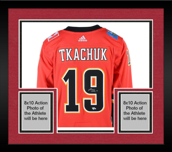 best service dcd47 70e1c Framed Matthew Tkachuk Calgary Flames Autographed Red Adidas Authentic  Jersey