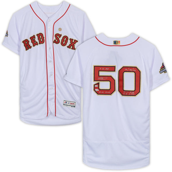 watch fdd3a 1e350 Mookie Betts Boston Red Sox Autographed 2019 Gold Program Majestic  Authentic Jersey with Multiple Inscriptions