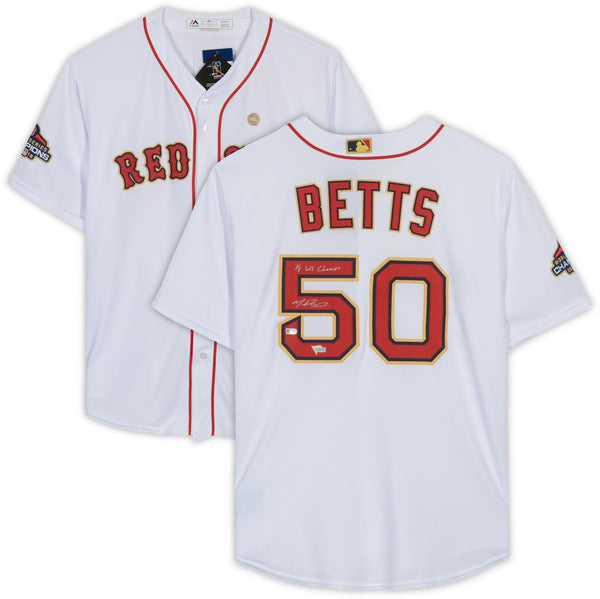 5a14343737960 Mookie Betts Boston Red Sox Autographed 2019 Gold Program Replica Jersey  with