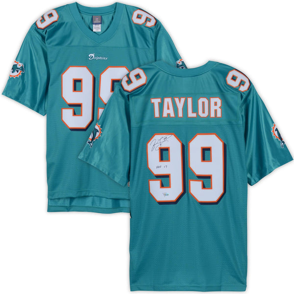 sports shoes 99d76 17054 Jason Taylor Miami Dolphins Autographed Teal Reebok Replica Jersey with