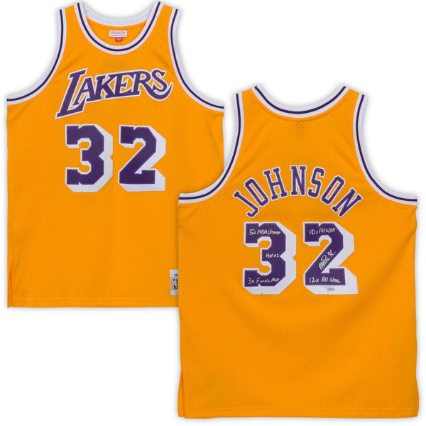 newest 96562 cc124 Magic Johnson Los Angeles Lakers Autographed Gold Mitchell & Ness Authentic  Jersey with Multiple Inscriptions - Limited Edition of 32