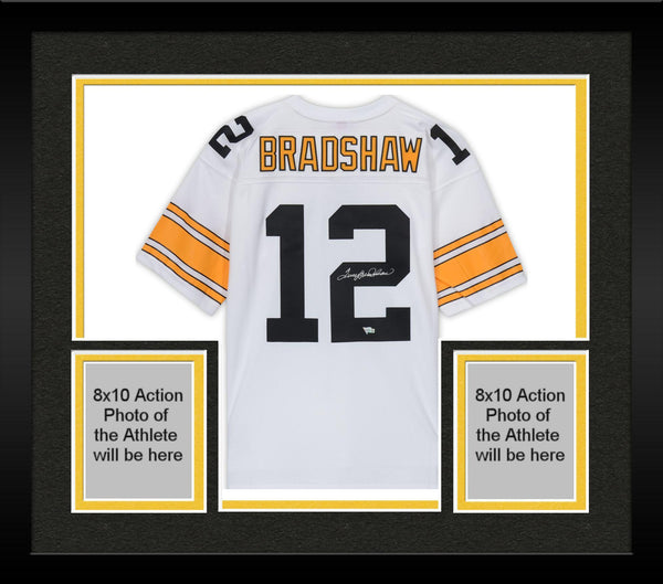 100% authentic c4aa7 06919 Framed Terry Bradshaw Pittsburgh Steelers Autographed White Mitchell & Ness  Replica Jersey