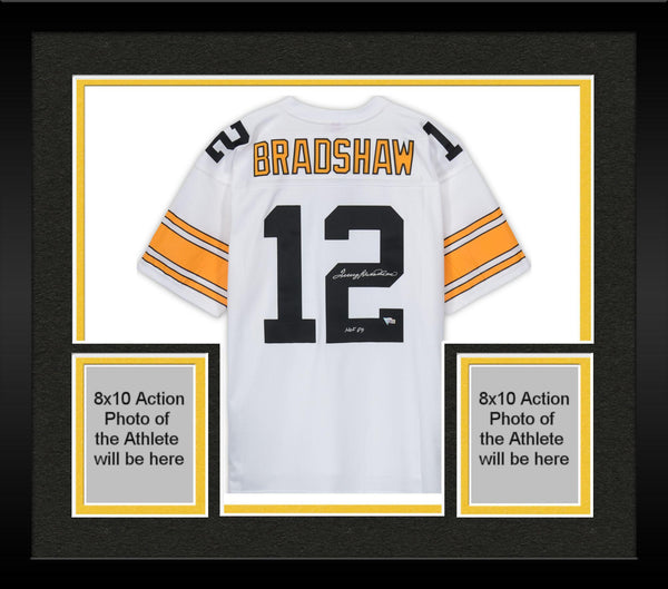 137962fd9 Framed Terry Bradshaw Pittsburgh Steelers Autographed White Mitchell & Ness  Replica Jersey with