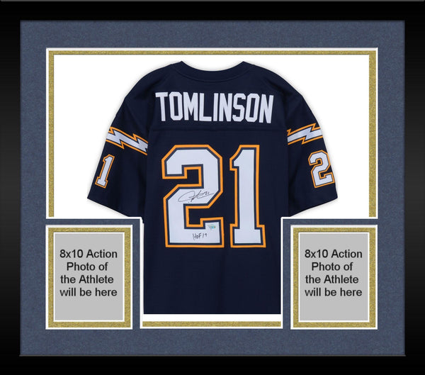 low priced cd496 90c54 Framed LaDainian Tomlinson San Diego Chargers Autographed Navy Mitchell &  Ness Replica Jersey with