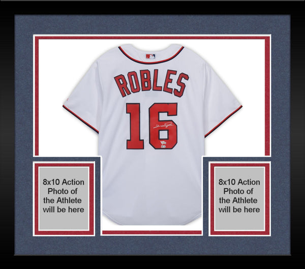 best service a1336 0bfa4 Framed Victor Robles Washington Nationals Autographed Majestic White  Replica Jersey