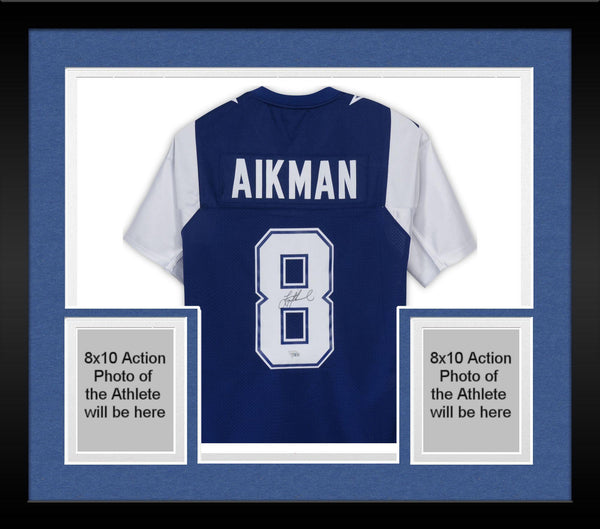 new style 26a84 6301c Framed Troy Aikman Dallas Cowboys Autographed Blue Alternate Mitchell &  Ness Authentic Jersey