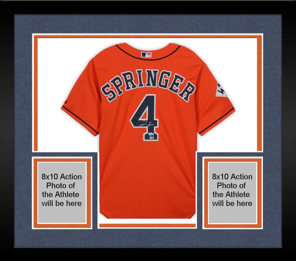 brand new 76df7 91946 Framed George Springer Houston Astros 2017 World Series Champions  Autographed Orange Replica Jersey