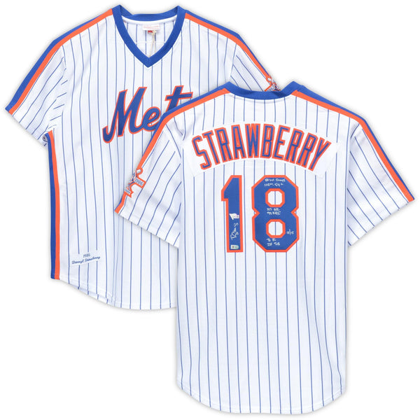 new concept 47fd1 8373a Darryl Strawberry New York Mets Autographed White Mitchell & Ness Authentic  Jersey with Multiple Inscriptions - Limited Edition of 18