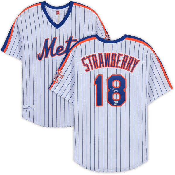 buy popular 13f25 f2160 Darryl Strawberry New York Mets Autographed Mitchell and Ness White 1986  World Series Jersey