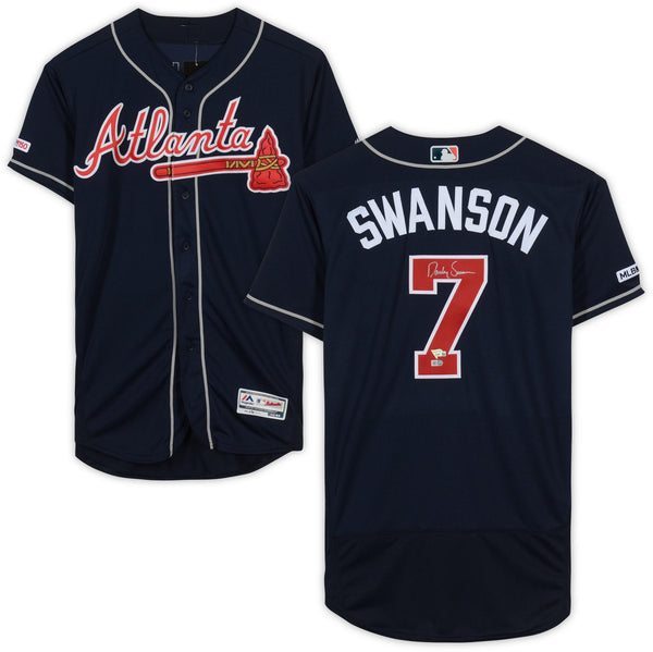 online retailer 20216 bf3ec Dansby Swanson Atlanta Braves Autographed Navy Majestic Authentic Jersey