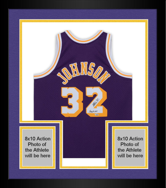 newest ed828 fd2e0 Framed Magic Johnson Los Angeles Lakers Autographed Purple Mitchell & Ness  Swing Man Jersey with