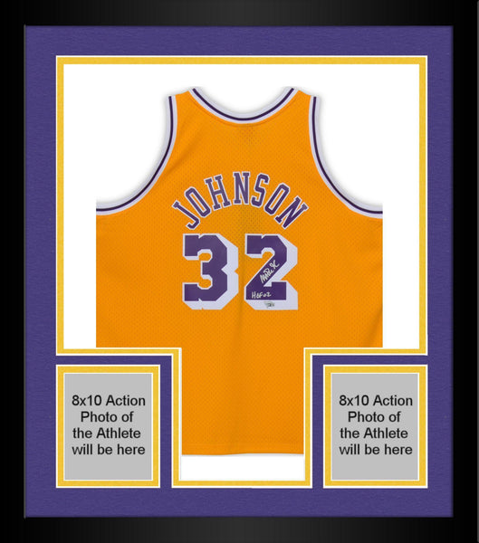buy online 4044f 350be Framed Magic Johnson Los Angeles Lakers Autographed Mitchell & Ness Gold  Swingman Jersey with