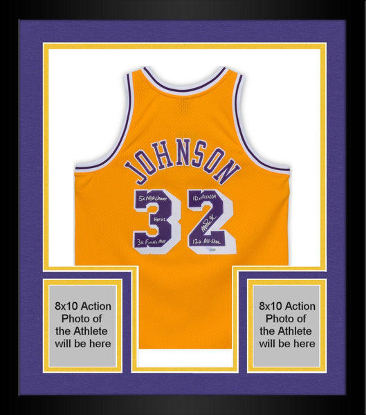 newest 34fd9 0a9de Framed Magic Johnson Los Angeles Lakers Autographed Gold Mitchell & Ness  Authentic Jersey with Multiple Inscriptions - Limited Edition of 32