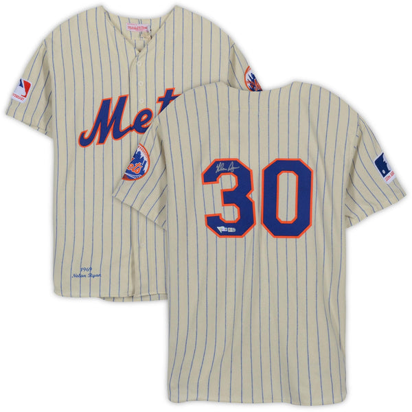 new arrival f70a7 d7272 Nolan Ryan New York Mets Autographed Mitchell & Ness Throwback Cream  Authentic Jersey