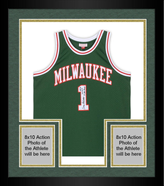 reputable site 6db35 dc1a3 Framed Oscar Robertson Milwaukee Bucks Autographed Mitchell & Ness Green  Replica Jersey with Multiple Inscriptions - Limited Edition #10 of 10