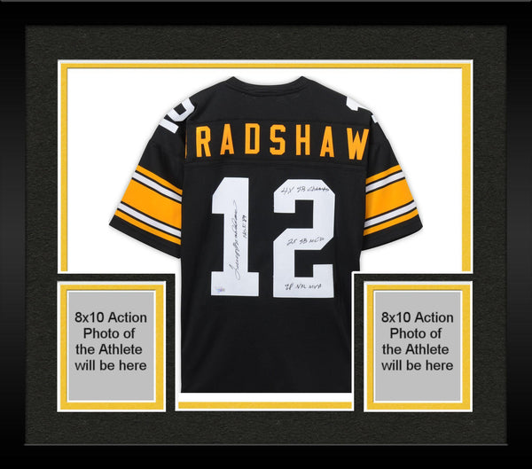 promo code e36a0 a19b3 Framed Terry Bradshaw Pittsburgh Steelers Autographed 1975 Black Mitchell &  Ness Authentic Jersey with Multiple Inscriptions - Limited Edition #1 of ...