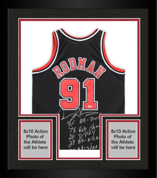 the latest 469be c8e48 Framed Dennis Rodman Chicago Bulls Autographed Black Replica Mitchell &  Ness Jersey with Multiple Inscriptions - Limited Edition #9 of 9