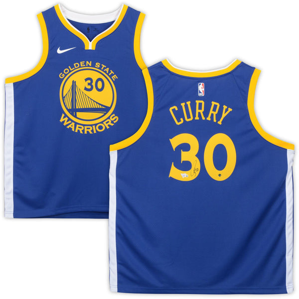 best service 32b26 56ca5 Stephen Curry Golden State Warriors Autographed Nike Blue Swingman Jersey