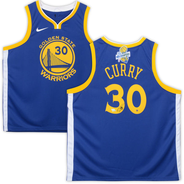 newest 445c7 591fc Stephen Curry Golden State Warriors Autographed Nike Blue Swingman Jersey  with 2017-18 Back-To-Back Champions Patch