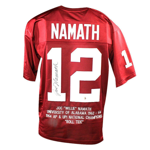 big sale c14d5 53bc9 Joe Namath Alabama Crimson Tide Signed Custom Jersey with Embroidered Stats