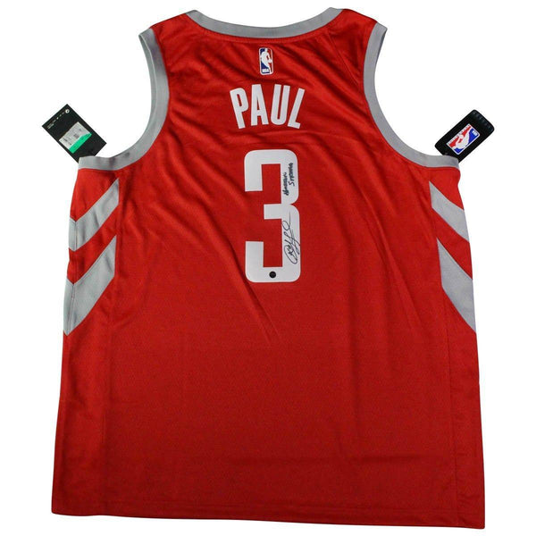 reputable site 9fb15 024c1 Chris Paul Signed Houston Rockets Icon Edition Red Swingman Jersey with  RoKit on Court Patch &