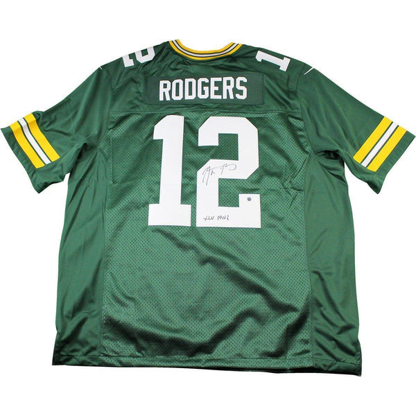 check out c3385 97ee3 Aaron Rodgers Signed Green Bay Packers Twill Green Jersey w/
