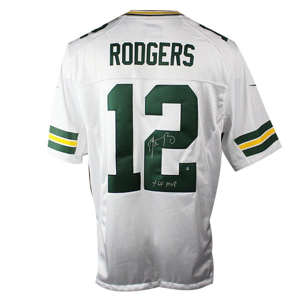 best service 9c522 a130d Aaron Rodgers Signed Green Bay Packers White Twill Limited Nike Jersey w/